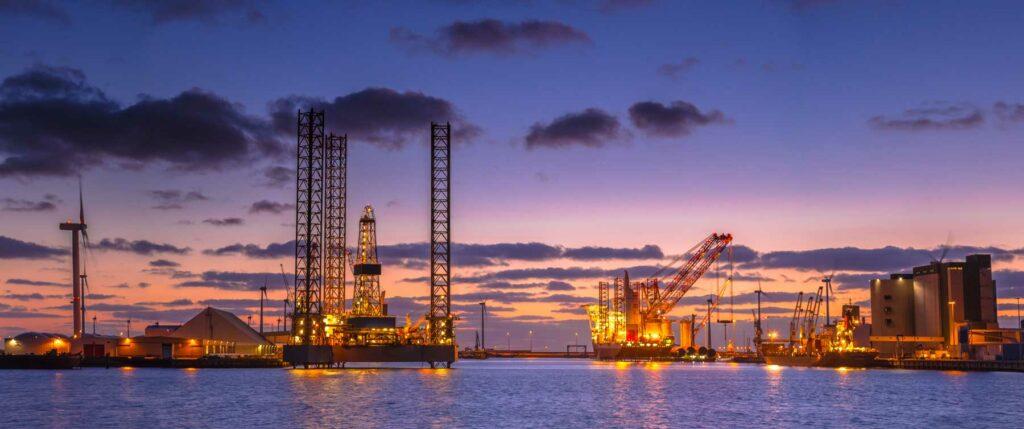 Jack-up rigs at dusk