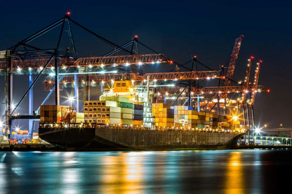 Container ship at port