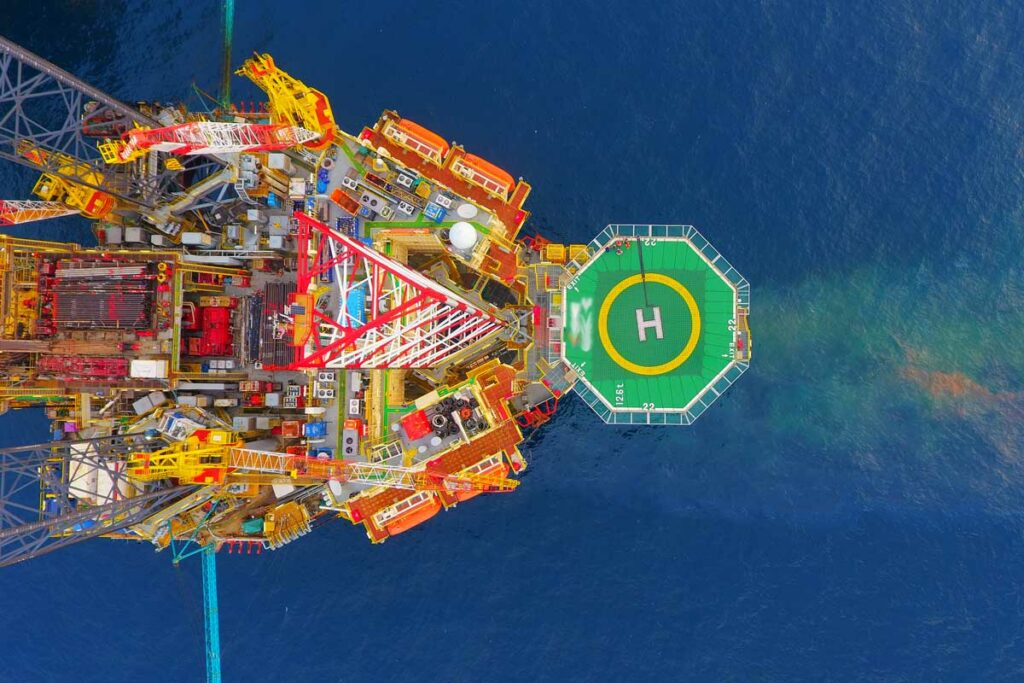 Aerial view of jack-up oil rig