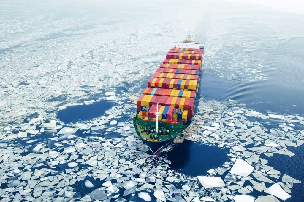 Container ship in icy waters