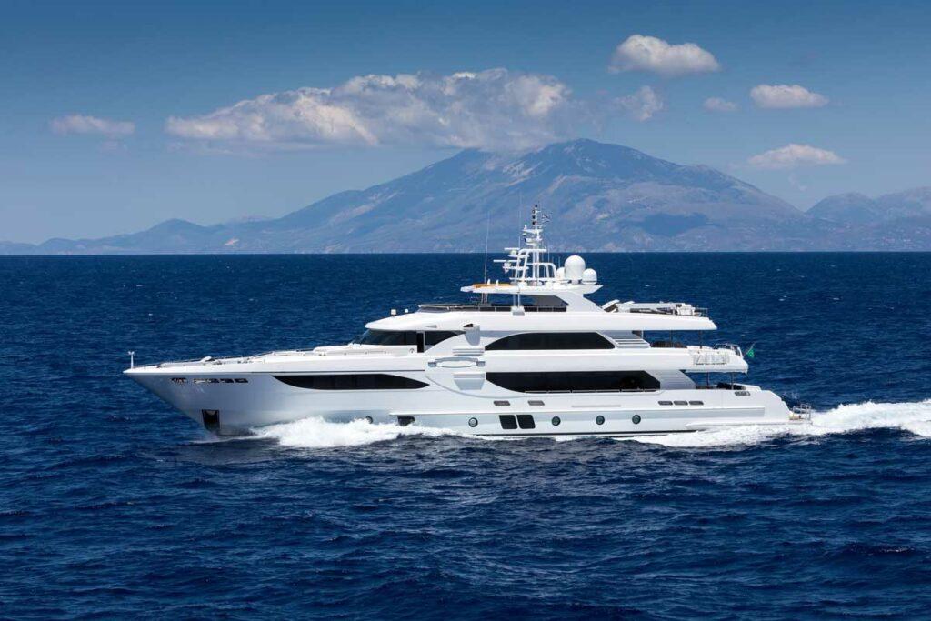 Superyacht cruising at sea